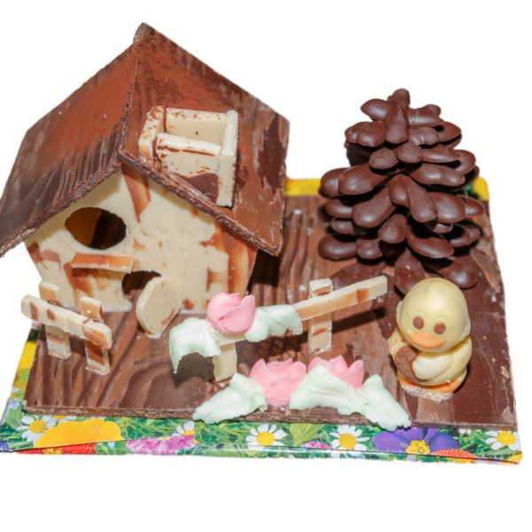 Casita de chocolate de Pascua